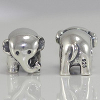 .925 Sterling Silver Charm Adorable Elephant Bead Fits One Pandora, Biagi, Troll, Chamilla and Many Other European Charm #EC256