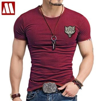 Men's Wolf embroidery Tshirt Cotton Short Sleeve