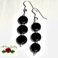 "Women's Earrings: Azabache and Sterling Silver 925 Beads ""So Pretty"""
