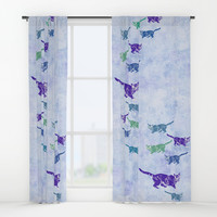Creeping kitties Window Curtains by anipani