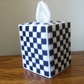 White and Black Tissue Box Cover - Plastic Canvas - Checker