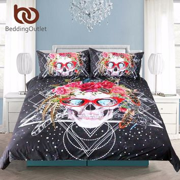 BeddingOutlet Sugar Skull with Glasses Bedding Set Pop Art Duvet Cover Set 3 Pieces Cool Soft Bedclothes For Gift Queen Size