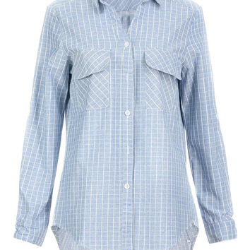 Blue Relaxed Shirt in Grid Print
