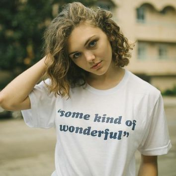"New Arrive ""Some Kind Of Wonderful"" Graphic T-Shirt Blue Letter shirt Casual Fashion Women tees Outfits Tumblr Men Crewneck"