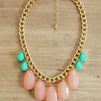 Peach Coral and Mint Statement Necklace on Chunky Gold Chain