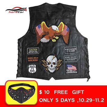 Trendy New Genuine Leather Motorcycle Vest Men Punk Retro Classic Style 42 Patches Motorcycle Jacket Biker Club Casual Vest Clothing AT_94_13