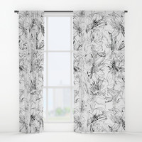 lily sketch black and white pattern Window Curtains by Color and Color