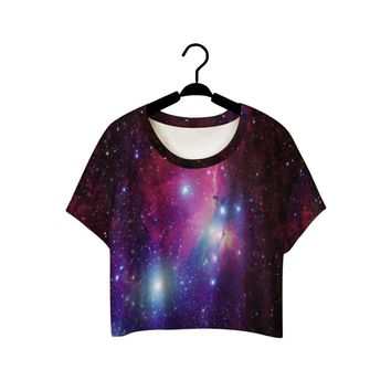 Hot Sale 3D printed galaxy space personality Umbilical cord sexy 2015 new women's summer style Crop Top casual tees beach wear