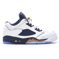 """Men's Fashion Basketball Shoes Air Jordan 5 Retro Low """"Dunk From Above"""" White/Gold/Navy"""