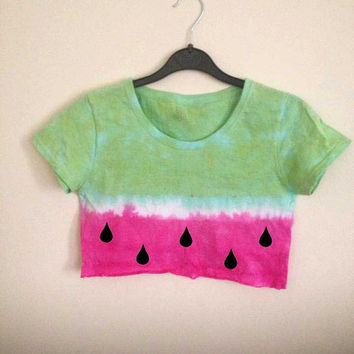 Watermelon Tye Dye Cropped T Shirt / Crop Top Hippie Festival
