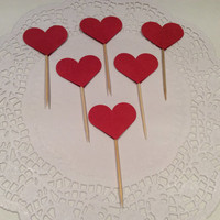 Heart cupcake topper.  Red, white and blue. 24 per order