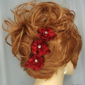 "Bordeaux Red ""Bonnie Wee"" Satin Organza Flower Bobby Pin Trio Set of 3 Hair Accessories"