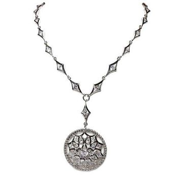 Mandala Round Pendant Necklace Cubic Zirconia Silver Plate Specialty Chain n222s
