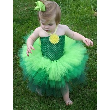 Tinkerbell Tutu Dress Green Ombre Tutu Dress Shabby Children Tutu Costume Dress up fairy Baby Communion Dresses