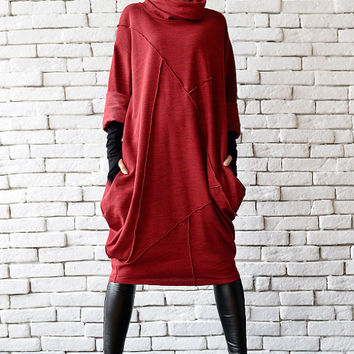 Red Maxi Dress/Plus Size Dress/Oversize Red Tunic/Long Tunic Top/Maxi Polo Dress/Plus Size Maxi Dress/Oversize Casual Dress/Long Sleeve Top