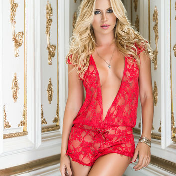 Plunging Lace Teddy