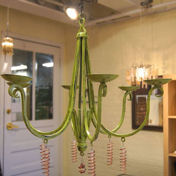 Chandelier /Candle Holder /Lime Green / Wrought Iron /Custom Handmade Glass Beads/ Outdoor Candle Holder / Candle Chandelier / Deck