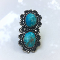 Vintage Native American Handmade Blue Turquoise Sterling Silver Double Long Ring, Blue Turquoise Big Ring