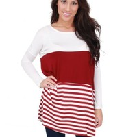 Forever Falling Burgundy And White Striped Tunic | Monday Dress Boutique