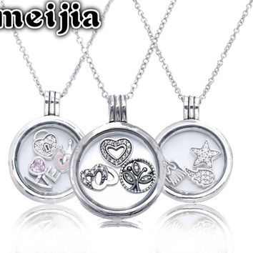 Medium Floating Locket With Crystal Glass Necklace (Include chain 45CM ) 100% 925 Sterling Silver Jewelry