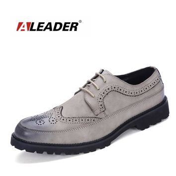 Aleader Fashion Mens Leather Dress Shoes Lace-Up Office Mens Casual Oxfords Vintage Driving Man Brogue Flats Formal Men Shoes