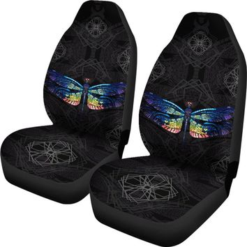 Dragonfly Car Seat Universal Fit Covers - Colorful Dragonfly