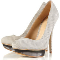 SNAKE Light Grey Snake Effect Perspex Platform Court Shoes - Heels - Shoes - Topshop USA