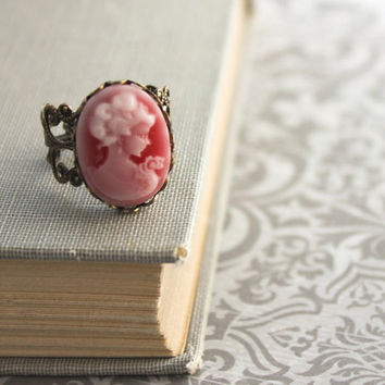 Red Cameo Ring Vintage style Cocktail Ring by apocketofposies