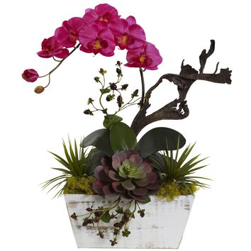 Artificial Flowers -Orchid Ruby and Succulent Garden with White Wash Planter