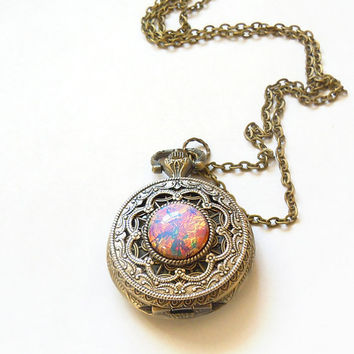 Pink  Fire Opal Pocket watch Locket style Necklace--Valentine's Gift