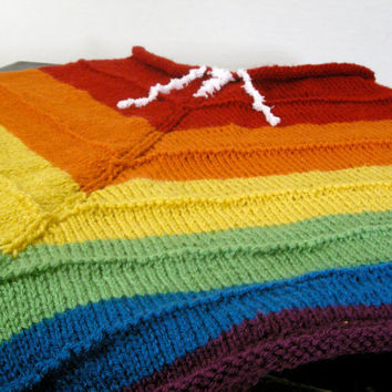 Rainbow Poncho inspired by Rainbow Dash by NikisKnerdyKnitting