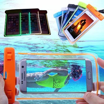 Transparent Luminous Pattern Pouch Cover For Samsung Galaxy S6 S7 edge Note 7 LG G5 iPhone 4 4s 5 5s 6 6s 7 Plus Waterproof Case
