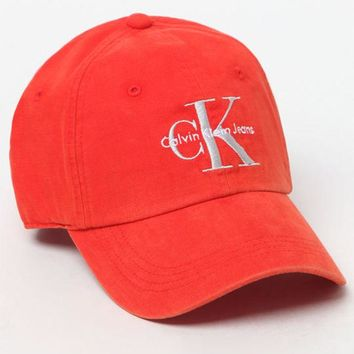 VONE05W Calvin Klein Red Denim Dad Hat