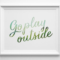 Go Play Outside Kids Wall Art, Blue and Green Kids Room Decor, Modern Playroom Decor, Boys Room Decor, Pastel Play Room Art, Summer Outdoors