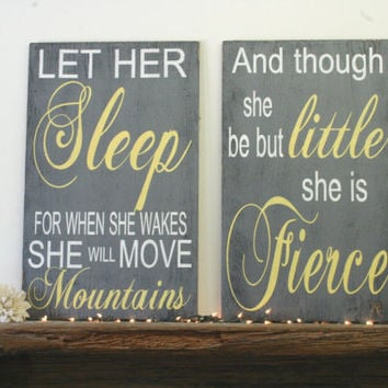 And Though She Be But Little Nursery Wall Art Girls Nursery Wall Art Wood Nursery Wall Art Gray and Yellow Nursery Rustic Chic Nursery