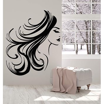 Vinyl Wall Decal Girl Face Woman Long Hair Hairstyle Makeup Stickers (2634ig)