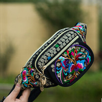 2016 New National Vintage Ethnic embroidery embroidery bag High-quality canvas arm waist packs  travel portable shoulder bag