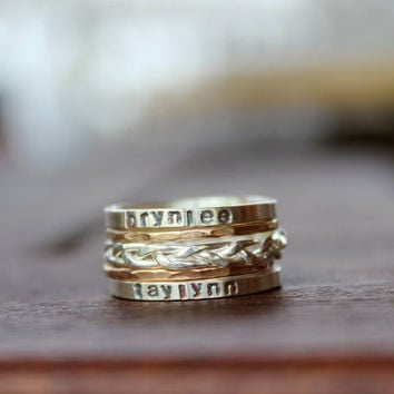 Stamped, Stacked, and Braided Mommy Rings