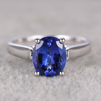 2.81ct Oval Blue Tanzanite Engagement Ring 14K White Gold Wedding Ring Natural Blue Stone
