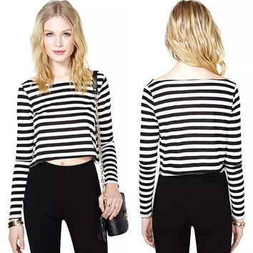Women's Fashion Crop Top Stripes Stylish Casual T-shirts [6048672641]