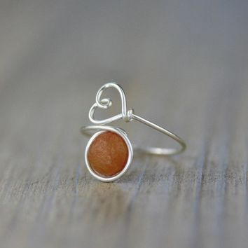 Sterling silver carnelian stone ring  Free US Shipping handmade anni designs