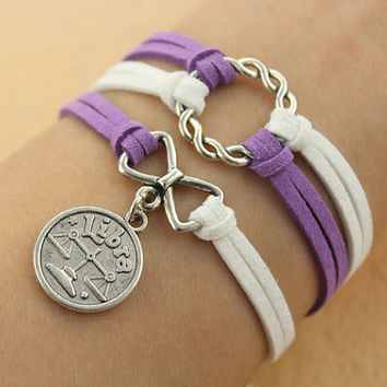 Twelve constellations bracelet--karma bracelet,ring and bowknot pendant,antique bronze charm bracelet,white&purple cord,MORE COLORS