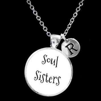 Choose Initial, Soul Sisters Best Friend BFF Sister Gift Necklace