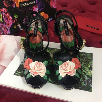 Dolce&Gabbana PRINTED CHARMEUSE SANDALS WITH SCULPTURAL HEEL