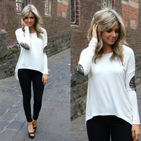 White Long Sleeve Sequined Elbow Patch Asymmetrical Top