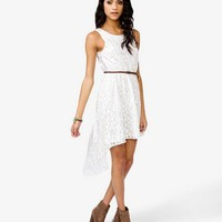 Floral Lace Dress w/ Skinny Belt | FOREVER 21 - 2021606271