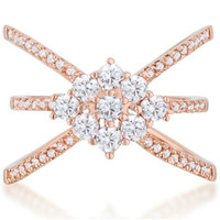 Mindy Rose Gold Delicate Triple Wrap Fashion Cocktail Ring   1.5ct   Cubic Zirconia   Rose Gold