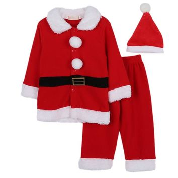 Christmas 3pcs Costume Baby Boys Clothes Sets Santa Claus Warm Fleece Long Sleeve Coat Pant Hat Suits Toddler Baby Cute Clothes