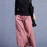 Women's Linen Wide Leg Pants Casual Loose Fitting One Size