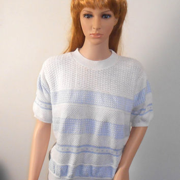Woman's Short Sleeve Blue and White Sweater - Carriage Court Classics - White Sweater with Blue Stripes - Size Large - Free US Shipping